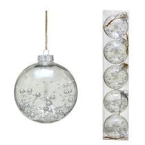Conjunto 5 Bolas Decoradas Para Arvore 8cm Transparente Com  Prata Espressione C - Espressione Christmas