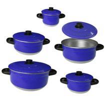 Conjunto 5 Panela Caçarola Alumínio Colorido Azul - Tenesin