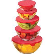 Conjunto 5 potes redondos de vidro e tampa de plástico CV192307 marca Casa do Chef - Casa & Video