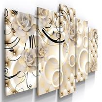 Conjunto 5 Quadros Decorativos Mosaico Caixa Alta Floral Arranjo Rosas Brancas Arabesco  Sala Quarto - Neyrad