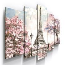 Conjunto 5 Quadros Decorativos Mosaico Caixa Alta Paris Torre Eiffel França Romantico Arvore Floral - Pri D'Cora