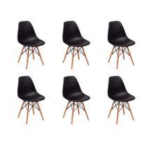 Conjunto 6 Cadeiras Charles Eames Eiffel Wood Base Madeira - Preta - Magazine Decor
