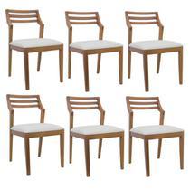 Conjunto 6 cadeiras em madeira maciça assento estofado ferrugine design 100% madeira na cor canela -