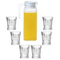 Conjunto 6 copos de vidro 300ml + Jarra de vidro 1,1L - Casambiente