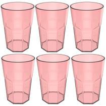 Conjunto 6 Copos Jogo De Copos Para Suco Água 400ml Acrílico Rosa Quartzo - Ou