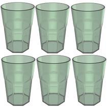 Conjunto 6 Copos Jogo De Copos Para Suco Água 400ml Acrílico Verde Menta - Ou
