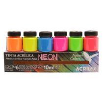 Conjunto 6 Cores Tinta AcrÍLica Neon 10ml Acrilex -