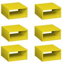 Conjunto 6 Nichos Salvatori Baby Bramov Móveis Amarelo -