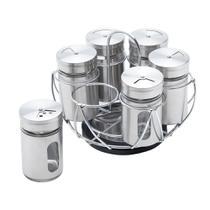 Conjunto 6 peças porta temperos de aço inox e vidro com suporte - Bon Gourmet