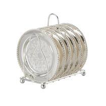 Conjunto 6 porta-copos de zamac prateado com suporte Lyor - L3380 -