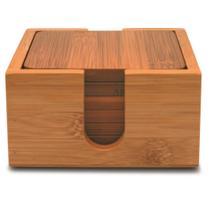 Conjunto 6 porta copos quadrado em bambu com suporte - Tyft