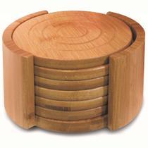 Conjunto 6 porta copos redondo em bambu com suporte - Tyft