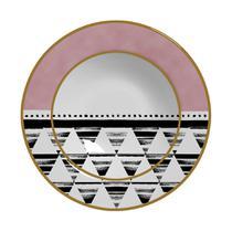 Conjunto 6 pratos fundos de cerâmica, geometrica 6, alleanza -