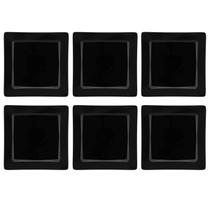 Conjunto 6 Pratos Rasos 26x26cm Nara Black Oxford -