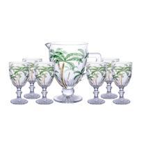 Conjunto 6 Taças Água Palm Tree Color + Jarra 1l Class Home -