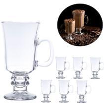 Conjunto 6 taças xícaras canecas copos cappuccino café Lyor -