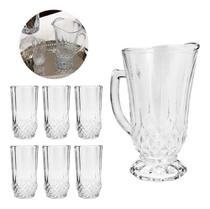 Conjunto 7 peças jarra com 6 copos de vidro roberta 7459 - LYOR