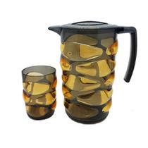 Conjunto 7 peças jarra e copos em acrílico - Rota do click