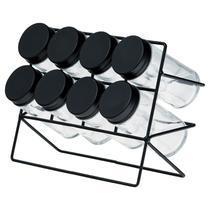 Conjunto 8 Porta Tempero Vidro Com tampa E Suporte De Aço Preto Lyor -