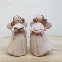 Conjunto Anjo Bíblia e Anjo Pomba de Resina 10x6cm - Ef