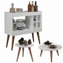 Conjunto Aparador Bar com Adega Laguna / Mesa de Centro e Lateral Cissa - Branco - Rpm Móveis