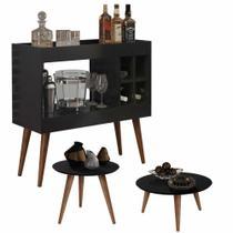 Conjunto Aparador Bar com Adega Laguna / Mesa de Centro e Lateral Cissa - Preto - RPM Móveis