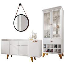 Conjunto Aparador Havana B01 com Espelho Adnet 54cm e Cristaleira Luma Branco - Lyam Decor -