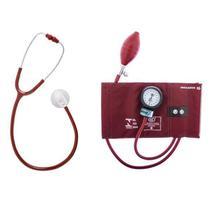 Conjunto Aparelho de Pressão Arterial Esfigmomanômetro e Estetoscópio Duplo Bic - Cbemed