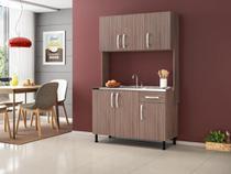 Conjunto armário aéreo cozinha viena com 3 portas e 1 prateleira e balcão de cozinha viena com 03 portas, 01 prateleira e 01 gaveta - amadeirado smoke - R&S Móveis