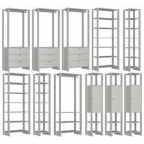 Conjunto Armarios Para Closet 11 Peças Yes EY101/2/3/4/7 Branco Nova Mobile -