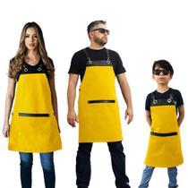 Conjunto Avental familia cozinha restaurante amarelo - Lady-Iv