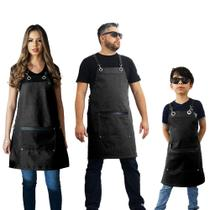 Conjunto Avental familia cozinha restaurante lona impermeável cinza - Lady-Iv