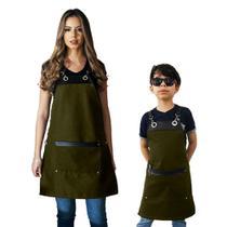 Conjunto Avental familia cozinha restaurante verde - Lady-Iv