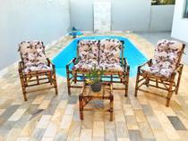 Conjunto bambu 2 cadeiras 1 namoradeira + mesa - vl decor 8 -