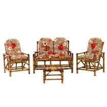 Conjunto bambu 2 cadeiras 1 namoradeira + mesa - vl decor11 -