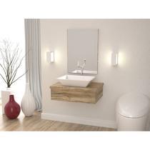 Conjunto Bancada para Banheiro com Cuba Aria RT41 e Espelheira 601w Metrópole Compace Carvalho -