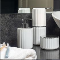 Conjunto Banheiro 2 Peças Portas Escovas + Dispenser Sabonete Líquido Groove Cromado - CBG 815 Ou -