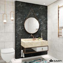 Conjunto Banheiro 800 Mirano em Mármore c/ Espelho Redondo - Mua Commerce
