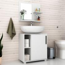 Conjunto Banheiro Balcão 1 Porta e Aéreo com Espelho BRV  - Branco -