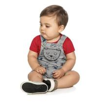 Conjunto Bebê Infantil Menino Camiseta Macacão Bordado - Elian