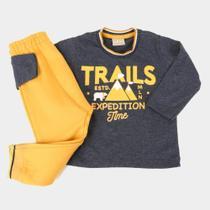 Conjunto Bebê Milon Trails Camiseta Manga Longa + Calça Moletom Masculino -
