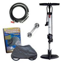 Conjunto Bicicleta Bomba de Ar Manual Chave de Boca Capa E Trava - Kit
