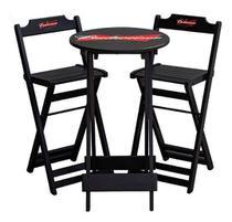 Conjunto bistrô dobrável personalizado - mesa com 2 banquetas - b - Negromonte Store
