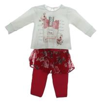Conjunto Blusa Coton Legging Saia Flor - Pituchinhu's