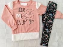 Conjunto Blusa de Moletom e Leggin feminina infantil tamanho 3 - fantoni