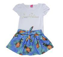 Conjunto Blusa e Saia-Shorts TMX  Just Believe Azul  / Tamanho 4 -