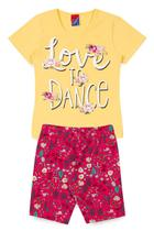 Conjunto Blusa em Cotton e Shorts Ciclista Love To Dance Ref 20371 Amarelo - Alemara