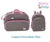 Conjunto Bolsa G + Mochila G Maternidade Milão Cinza/Rosa - Lilian baby