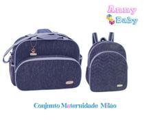 Conjunto Bolsa G + Mochila G Maternidade Milão Marinho/Azul - Lilian baby