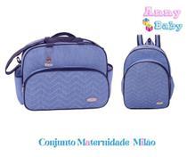 Conjunto Bolsa G + Mochila P Maternidade Milão Azul/Marinho - Lilian Baby